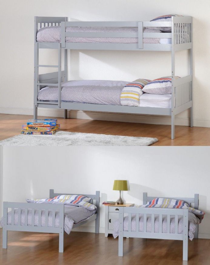 Designer Grey or White Bunk Beds
